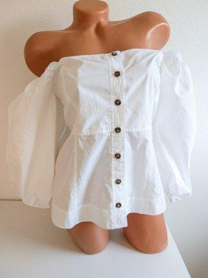 Ganni wunderschöne Bluse weiß schulterfrei Gr. 36 Ballonärmel NEU!