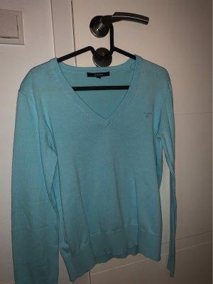 Gant Long Cardigan baby blue-light blue cotton