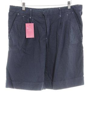 Gant Bundfaltenhose dunkelblau-stahlblau Logo-Applikation aus Leder