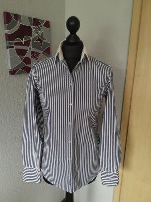 Gant Damen Bluse gestreift blau weiß mit weißem Kragen Größe S 36