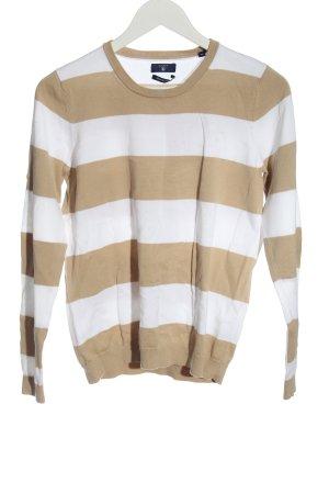Gant Feinstrickpullover creme-weiß Streifenmuster Casual-Look