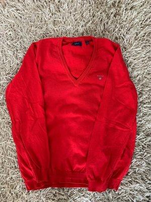 Gant Jersey con cuello de pico rojo ladrillo