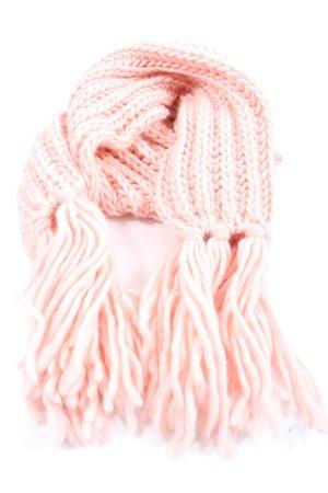 Gant Bufanda de flecos rosa punto trenzado look casual