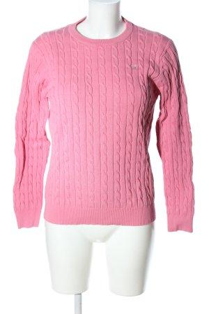 Gant Grobstrickpullover pink Zopfmuster Casual-Look