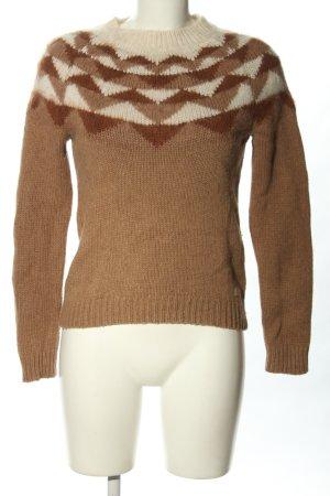 Gant Grobstrickpullover braun-creme grafisches Muster Casual-Look