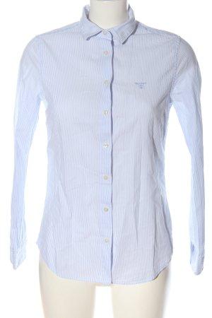Gant Hemd-Bluse blau-weiß Schriftzug gestickt Business-Look