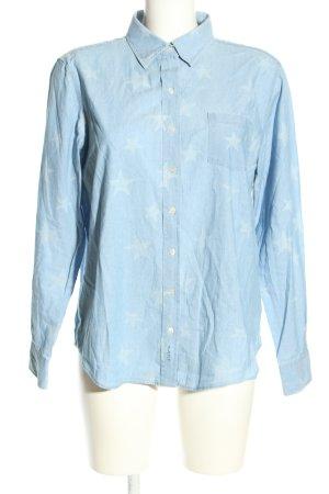 Gant Hemd-Bluse blau-weiß Allover-Druck Casual-Look