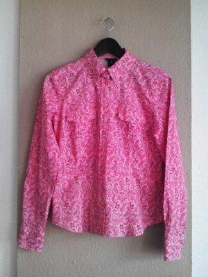 Gant Hemdbluse in rosa Farkombination mit Paisleymuster und Taschen, Größe 38