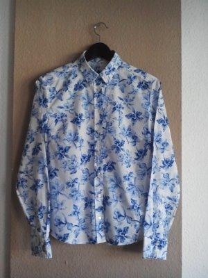 Gant Hemdbluse in weiß-blau Blumenmuster aus 100% Baumwolle, Größe 38