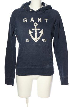 Gant Kapuzenpullover blau-weiß Motivdruck Casual-Look