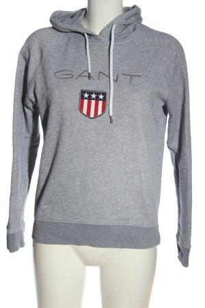Gant Felpa con cappuccio grigio chiaro puntinato stile casual