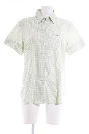 Gant Geruite blouse weidegroen-wit Gemengd weefsel