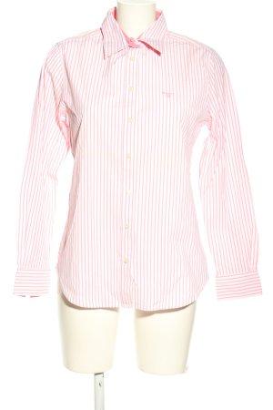 Gant Langarm-Bluse pink-weiß Schriftzug gestickt Business-Look