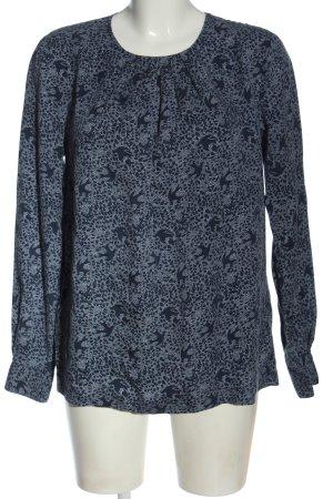 Gant Langarm-Bluse blau-weiß Allover-Druck Casual-Look