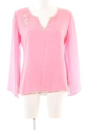 Gant Langarm-Bluse pink-goldfarben Blumenmuster Casual-Look