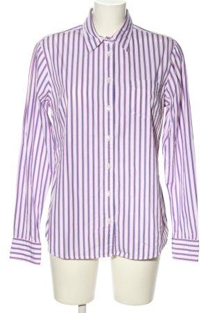 Gant Langarm-Bluse weiß-lila Streifenmuster Casual-Look