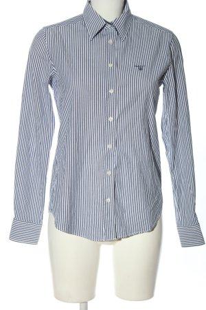 Gant Langarmhemd blau-weiß Schriftzug gestickt Business-Look