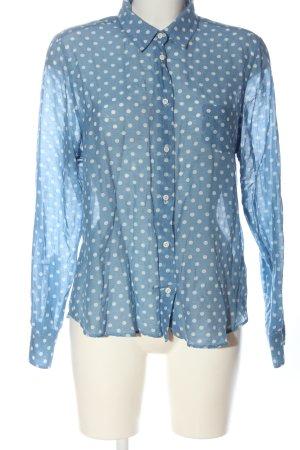 Gant Chemise à manches longues bleu-blanc imprimé allover style d'affaires