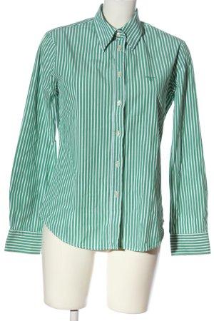 Gant Langarmhemd weiß-grün Schriftzug gedruckt Casual-Look