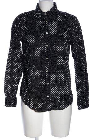 Gant Langarmhemd schwarz-weiß Allover-Druck Business-Look