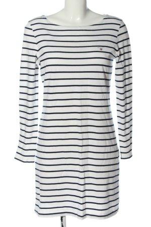 Gant Langarmkleid weiß-schwarz Streifenmuster Casual-Look