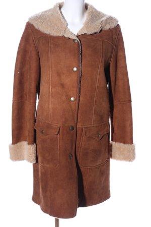 Gant Manteau en cuir brun-crème style décontracté