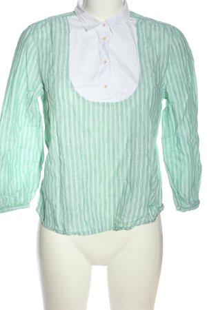 Gant Leinenbluse grün-weiß Streifenmuster Casual-Look