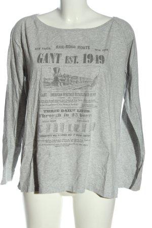 Gant Longsleeve hellgrau-schwarz Schriftzug gedruckt Casual-Look