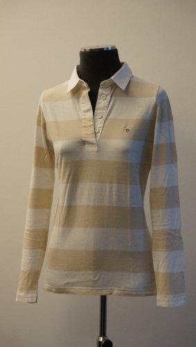 Gant Polo-Langarmshirt beige-weiß gestreift, Gr. S