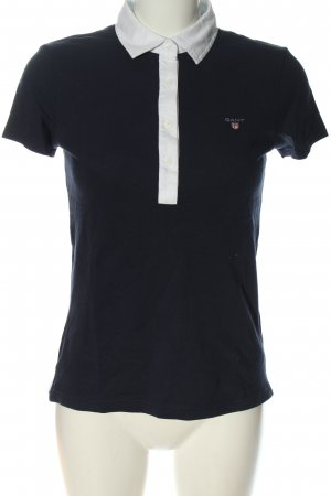 Gant Polo Shirt blue embroidered lettering casual look