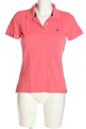 Gant Polo-Shirt pink Schriftzug gedruckt Casual-Look