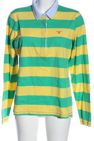 Gant Polo-Shirt grün-blassgelb Schriftzug gestickt Casual-Look