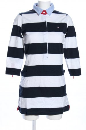 Gant Robe Polo blanc-noir motif rayé style décontracté