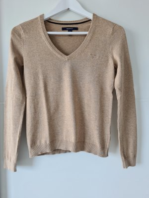 GANT Pullover, V-Ausschnitt, beige, meliert, Gr.XS, Baumwolle