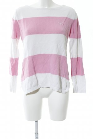 Gant Rundhalspullover pink-weiß Streifenmuster Casual-Look