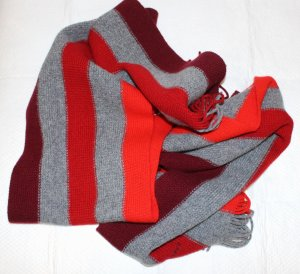 Gant Sjaal met franjes rood-grijs Wol