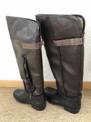 Gant Botas sobre la rodilla marrón-blanco