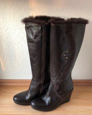 Gant Platform Boots dark brown leather