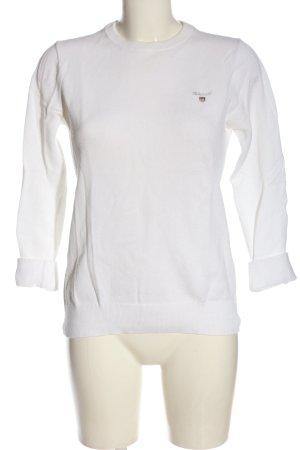 Gant Sweatshirt weiß Schriftzug gestickt Casual-Look