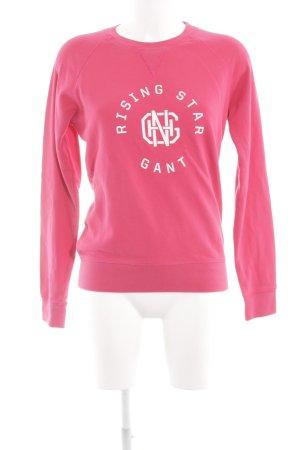 Gant Sweatshirt pink-weiß Schriftzug gedruckt Casual-Look