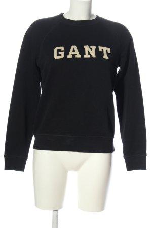 Gant Suéter negro-crema letras impresas look casual