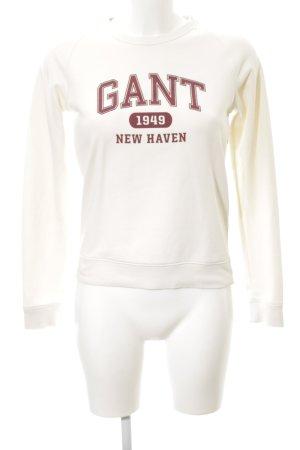 Gant Sweatshirt creme-bordeauxrot Schriftzug gedruckt College-Look