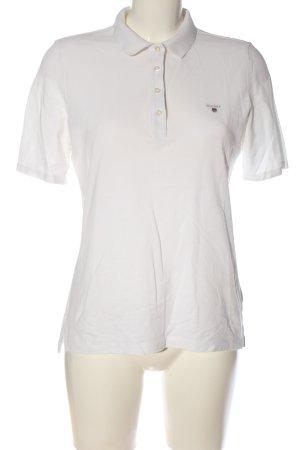 Gant T-Shirt weiß Schriftzug gestickt Casual-Look