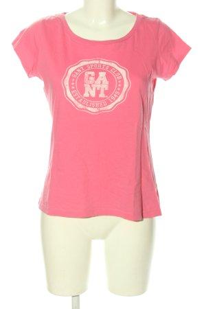 Gant T-Shirt pink-wollweiß Schriftzug gedruckt Casual-Look