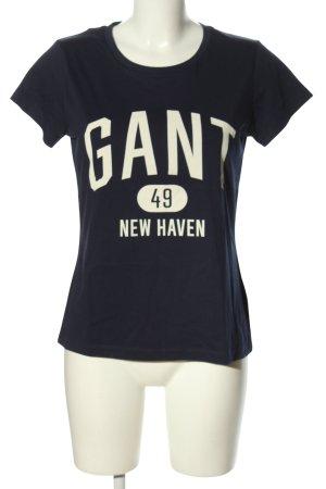 Gant T-Shirt schwarz-weiß Motivdruck Casual-Look