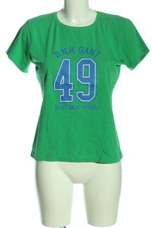 Gant T-Shirt grün-blau Schriftzug gedruckt Casual-Look