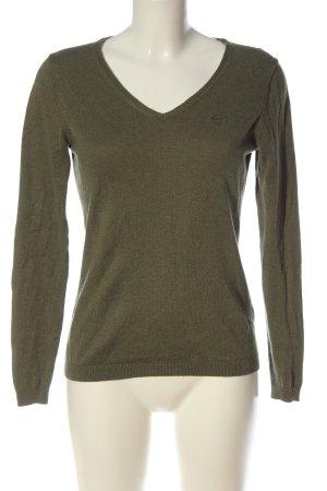 Gant V-Ausschnitt-Pullover khaki meliert Casual-Look