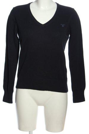 Gant V-Ausschnitt-Pullover schwarz Casual-Look