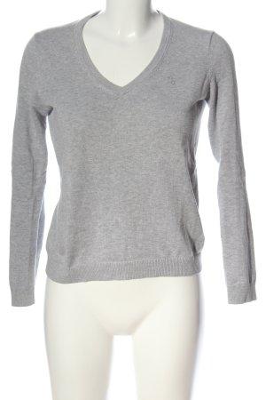 Gant V-Ausschnitt-Pullover hellgrau meliert Casual-Look