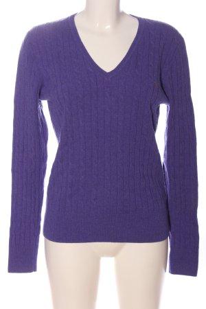 Gant V-Ausschnitt-Pullover lila Zopfmuster Casual-Look